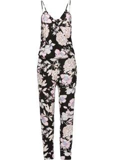 Комбинезон с цветочным принтом (черный/розовый в цветочек) Bonprix