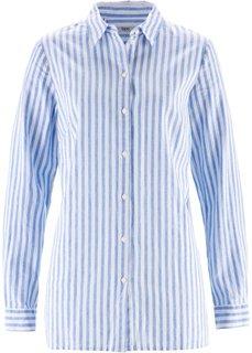Блузка в смеси льна и хлопка (голубой/белый в полоску) Bonprix