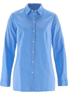 Блузка в смеси льна и хлопка (голубой) Bonprix