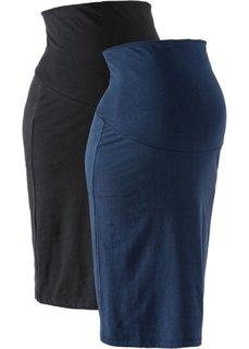 Для будущих мам: трикотажная юбка (2 шт.) (черный/темно-синий) Bonprix