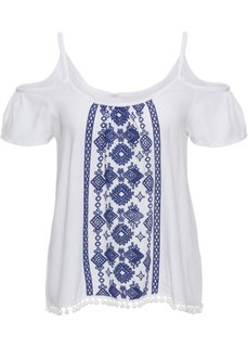 Блузка с имитацией вышивки (белый/синий) Bonprix