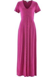 Трикотажное макси-платье с коротким рукавом (фуксия) Bonprix