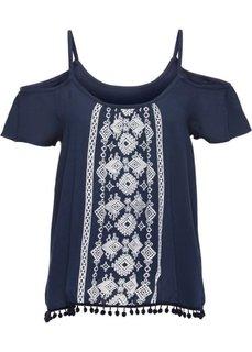 Блузка с имитацией вышивки (темно-синий/белый) Bonprix