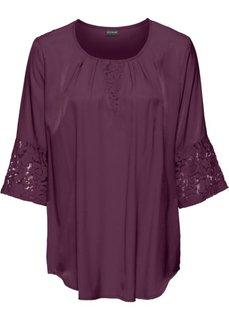 Блузка с кружевной отделкой (баклажановый) Bonprix