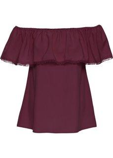 Блуза с открытыми плечами (бордовый) Bonprix