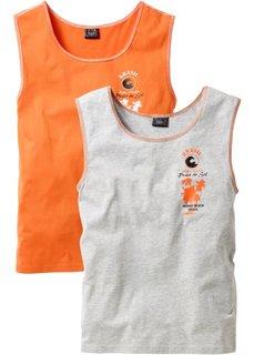 Майка (2 шт.) (светло-серый меланж + оранжевый) Bonprix