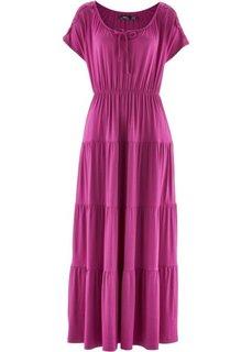 Трикотажное платье с коротким рукавом (фуксия) Bonprix