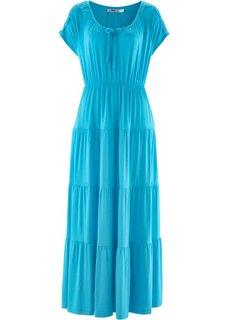 Трикотажное платье с коротким рукавом (синий) Bonprix