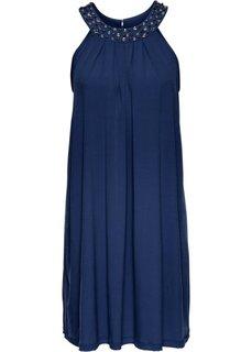 Трикотажное платье, отделанное стразами (ночная синь) Bonprix