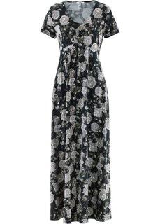 Трикотажное макси-платье с коротким рукавом (черный в цветочек) Bonprix