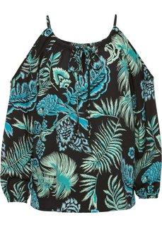 Блузка с вырезами на плечах (темно-зеленый с рисунком) Bonprix