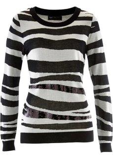 Пуловер с пайетками (цвет белой шерсти/черный с узором) Bonprix