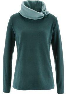 Флисовый свитер с длинным рукавом (петролевый) Bonprix