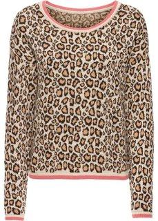 Вязаный пуловер в леопардовом стиле (коричневый леопардовый/бежевый/ярко-розовый) Bonprix