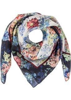 Небольшой шелковый платок в цветочек (кремовый/черный) Bonprix