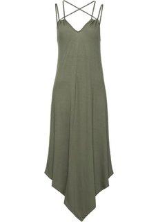 Трикотажное платье на тонких бретелях (оливковый) Bonprix