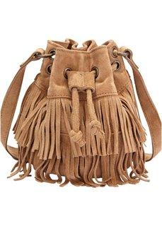 Кожаная сумка-мешок с бахромой (коньячный) Bonprix