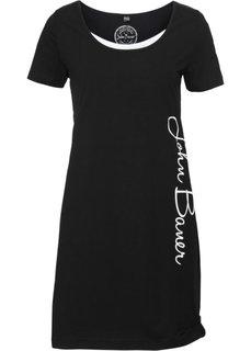 Трикотажное платье с принтом-логотипом (черный) Bonprix