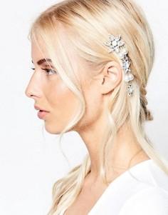 Заколка для волос с кристаллами Swarovski и жемчугом Krystal - Золотой