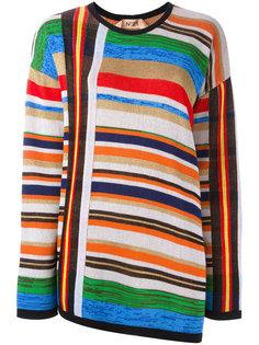 полосатый пуловер с открытой спиной Nº21