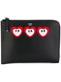 клатч с аппликацией сердец Fendi