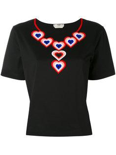 футболка с аппликацией в виде сердец Fendi
