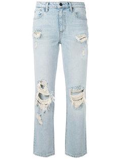 прямые джинсы с рваными деталями Alexander Wang