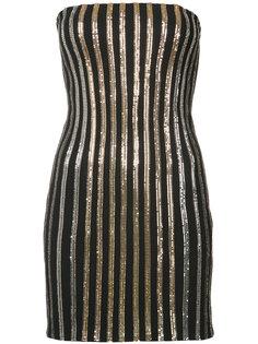 платье без бретелек в блестящую полоску Balmain