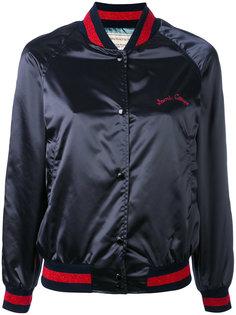 атласная куртка-бомбер  с вышивкой Maison Kitsuné