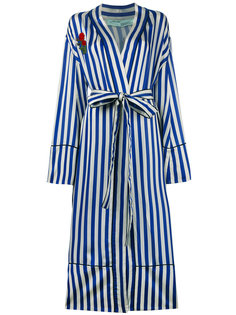 полосатое пальто в пижамном стиле с вышивкой Off-White