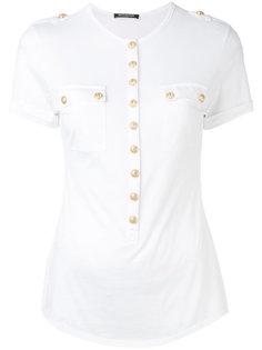 футболка с пуговицами в стиле милитари Balmain