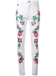брюки с цветочной отделкой Philipp Plein
