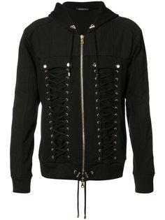 lace-up zipped hoodie Balmain