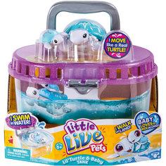 Черепашка с малышом в аквариуме, Little Live Pets, Moose