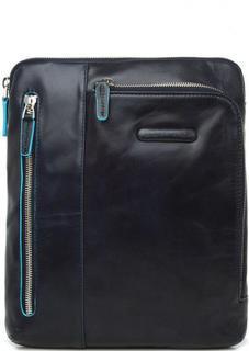 Темно-синяя сумка из натуральной кожи на молнии Piquadro