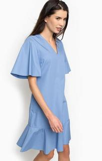 Синее платье из хлопка с треугольным вырезом Pinko