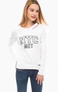 Белый хлопковый свитшот с ярким принтом MET