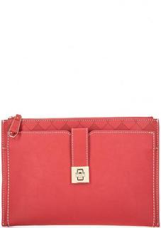Клатч красного цвета на молнии Trussardi Jeans