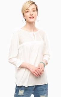 Белая блуза с вставкой в горошек S.Oliver