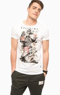 Белая футболка с цветочным принтом Religion