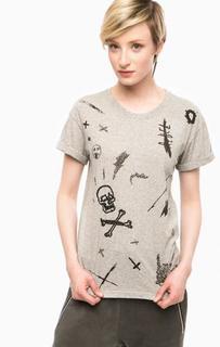 Серая футболка с вышивкой Religion