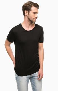 Однотонная черная футболка Mavi