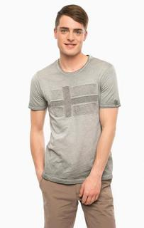 Серая футболка с нашивками Napapijri