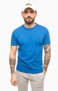 Синяя хлопковая футболка Lacoste