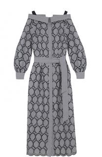 Кружевное платье с открытыми плечами и поясом Erika Cavallini