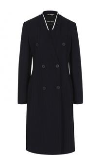 Приталенное двубортное пальто в полоску Giorgio Armani