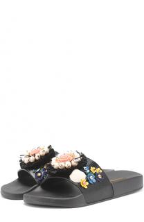 Текстильные шлепанцы с цветочной аппликацией Dolce & Gabbana