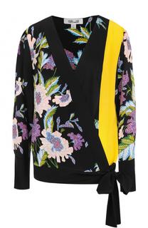 Шелковый топ с цветочным принтом Diane Von Furstenberg