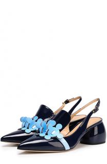 Лаковые туфли на фигурном каблуке Anya Hindmarch