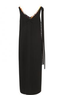 Платье прямого кроя с яркой отделкой выреза Dries Van Noten
